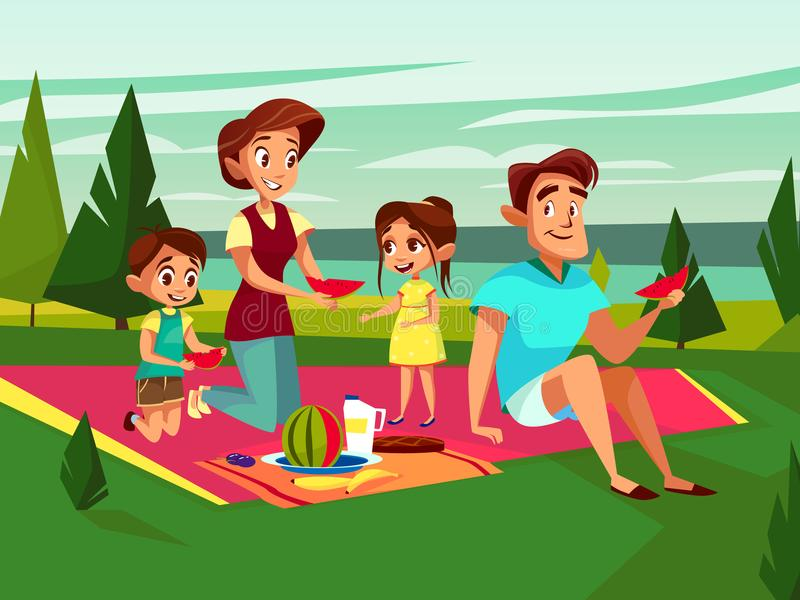 Vector cartoon caucasian family at picnic party. Vector cartoon caucasian family at outdoor picnic party at weekend. Cheerful adult couple - mother and father stock illustration
