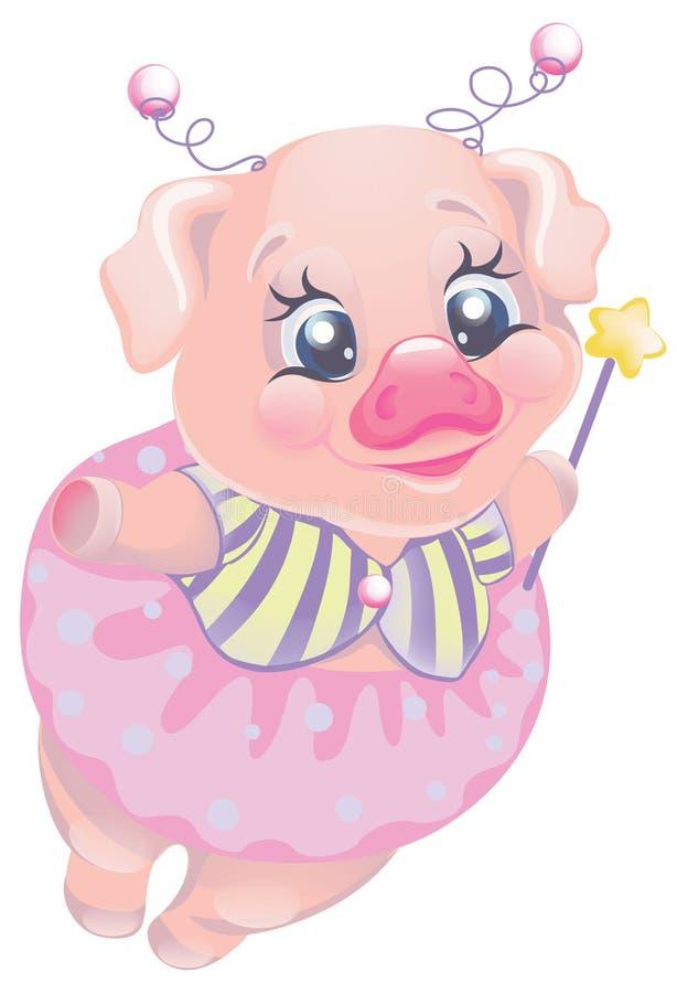 Vector cartoon character cute piggy fairy royalty free illustration