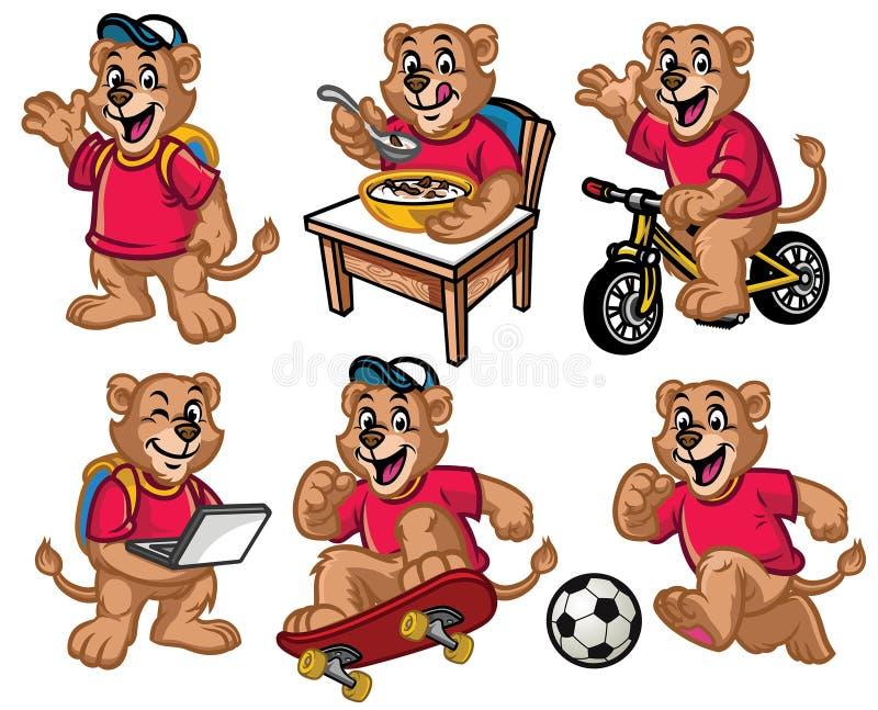 Cartoon character set of cute little lion vector illustration