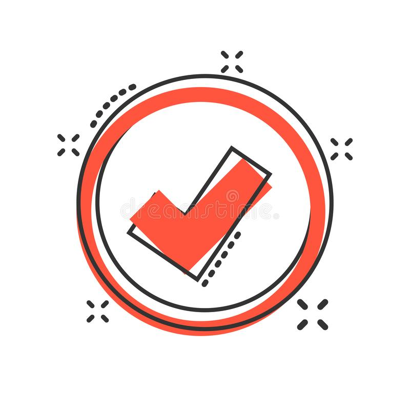 Vector cartoon check marks ok icon in comic style. Accept sign illustration pictogram. Yes business splash effect concept.  royalty free illustration