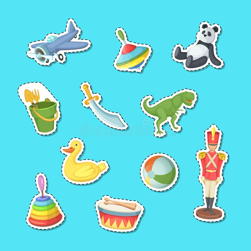 Vector cartoon children toys stickers set illustration stock illustration