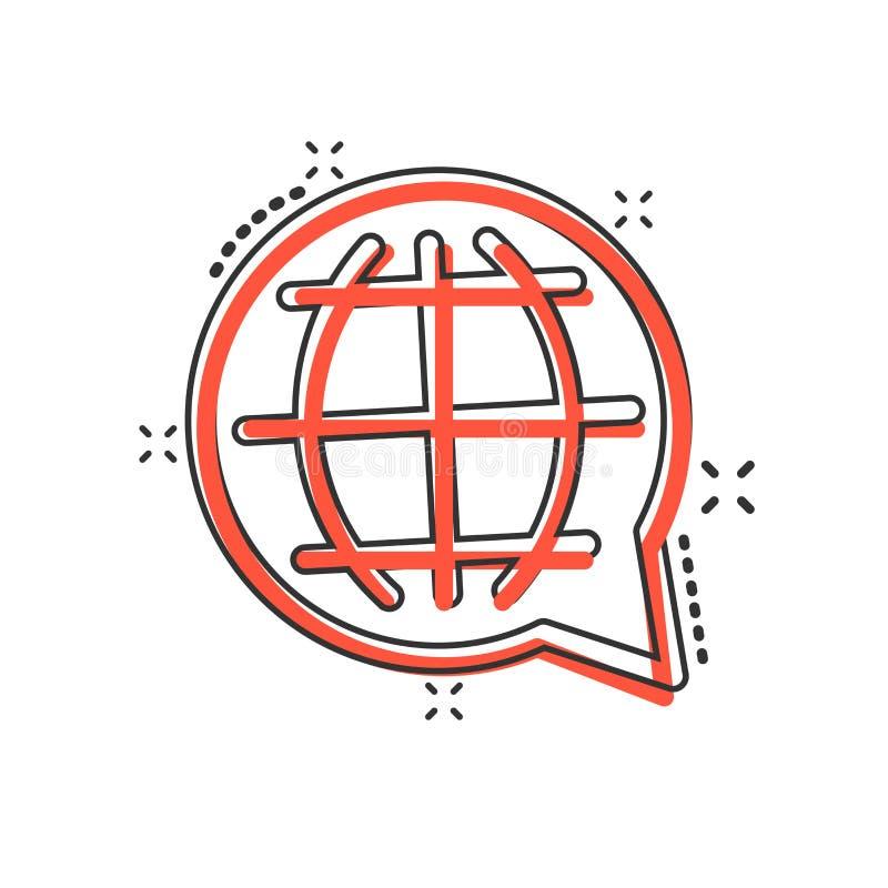 Vector cartoon choose or change language icon in comic style. Globe world communication sign illustration pictogram. World. Business splash effect concept royalty free illustration