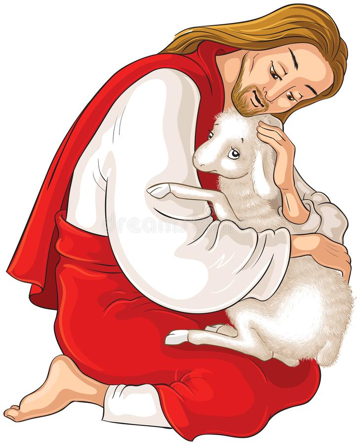 History of Jesus Christ. The Parable of the Lost Sheep. The Good Shepherd Rescuing a Lamb Caught in Thorns isolated on white royalty free stock images