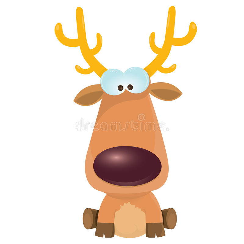 Vector cartoon Christmas reindeer character. stock illustration