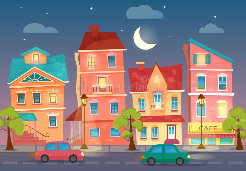 Vector cartoon City street at Night. Street lights in the night. Cars on a road. royalty free illustration