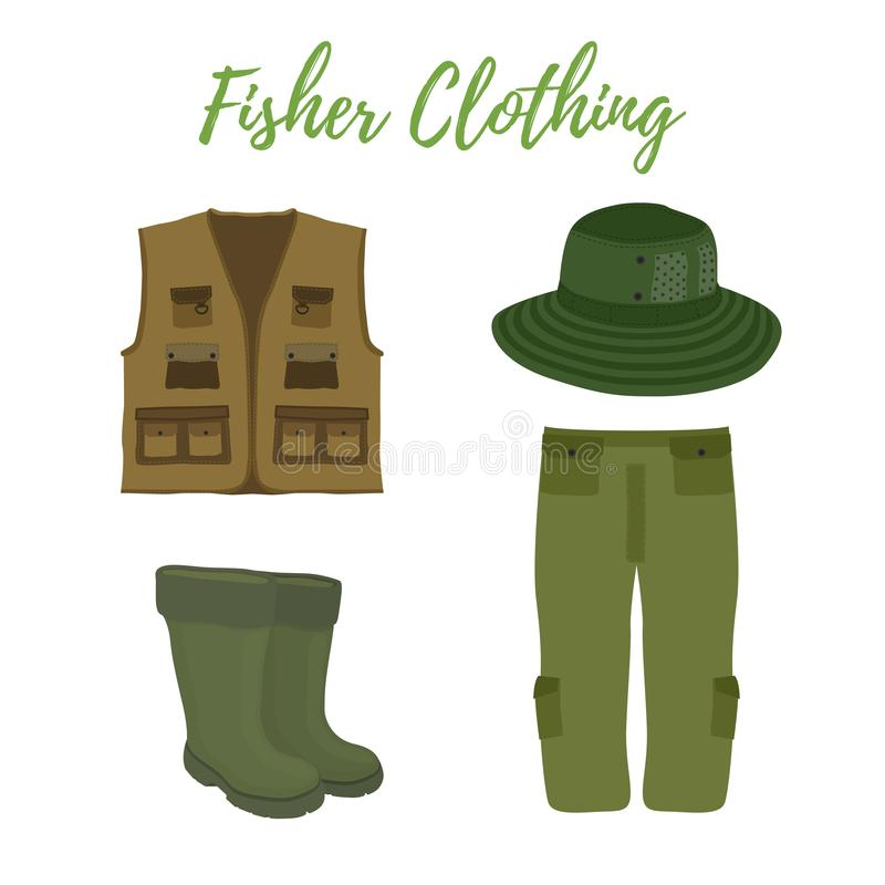 Free Vector Cartoon Clothing For Fishing, Hunting. Boots, Waders, Vest And Hat Royalty Free Stock Image - 134596336