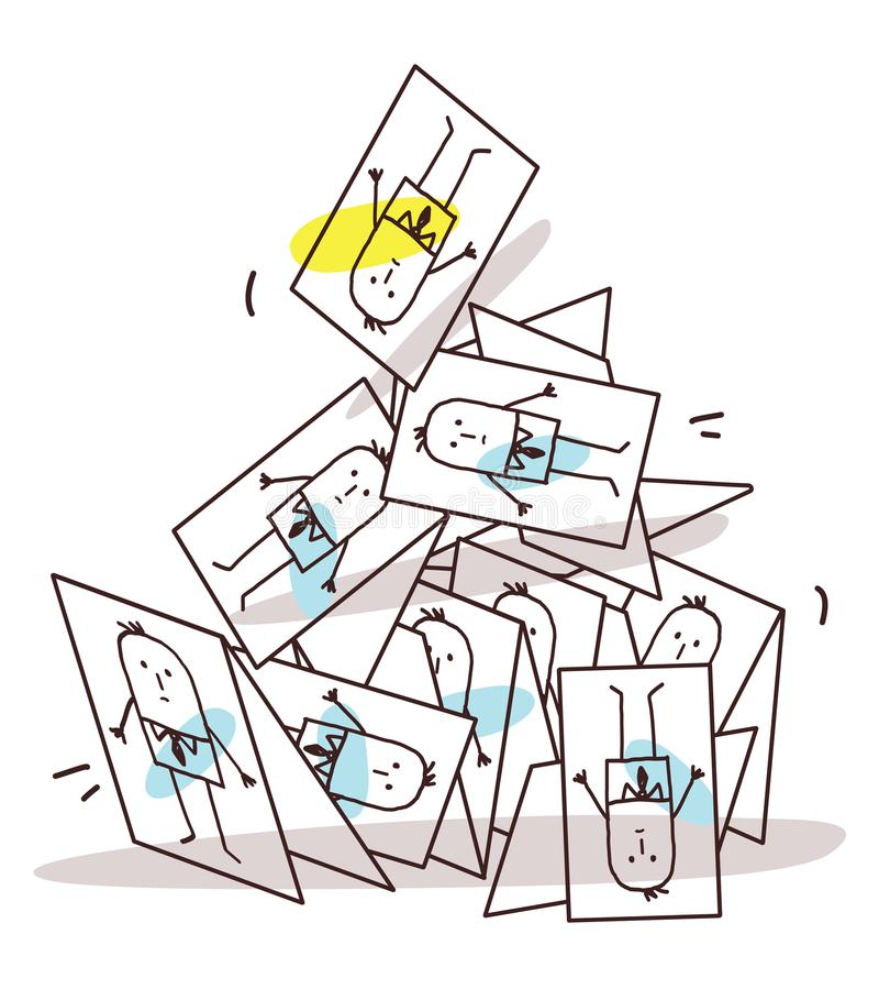 Cartoon Collapsing Business Cards Pyramid vector illustration