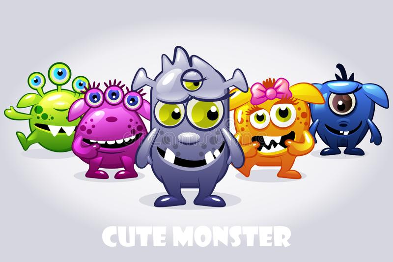 Vector cartoon collection five cute babies monsters, funny character set. Vector cartoon collection five cute babies monsters. Big set funny bacteria characters stock illustration