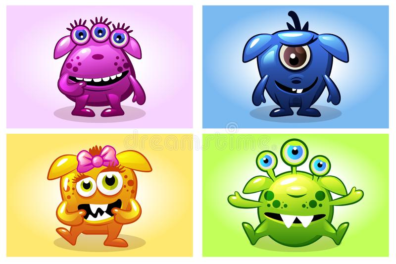 Vector cartoon collection four cute babies monsters, funny character set. Vector cartoon collection four cute babies monsters. Big set funny bacteria characters vector illustration