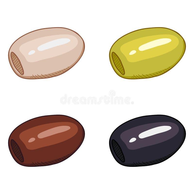 Vector Cartoon Color Olives stock illustration