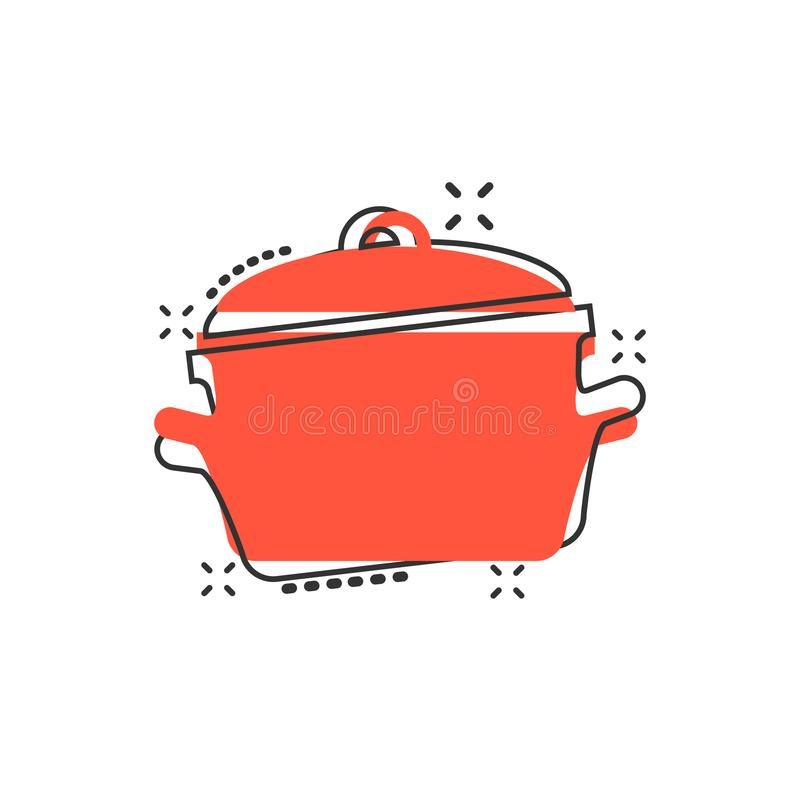Vector cartoon cooking pan icon in comic style. Kitchen pot concept illustration pictogram. Saucepan equipment business splash. Effect concept royalty free illustration