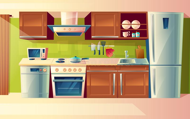 Vector cartoon set of kitchen counter with appliances. Cupboard, furniture. Household objects, cooking room interior. Vector cartoon cooking room interior royalty free illustration