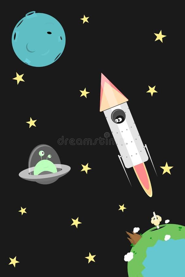 Vector cartoon cosmos illustration royalty free illustration