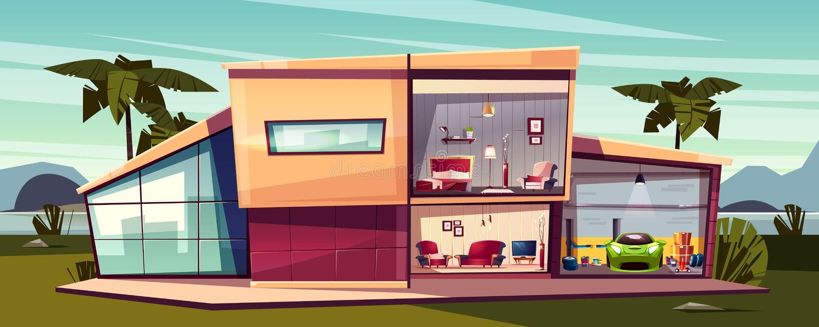 Vector cartoon cottage, detached house cross section vector illustration