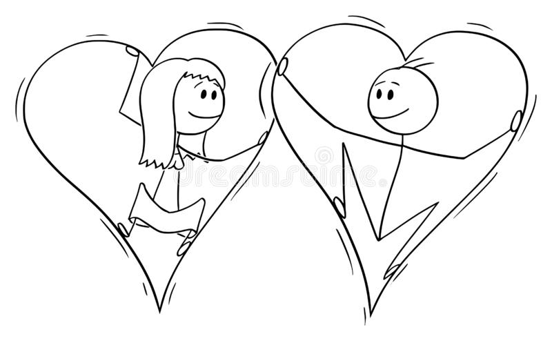 Vector Cartoon of Couple of Man and Woman in Love Trapped Together Inside of Big Hearts royalty free illustration