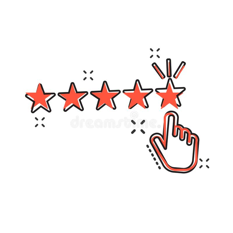 Vector cartoon customer reviews, user feedback icon in comic sty. Le. Rating sign illustration pictogram. Stars rating business splash effect concept vector illustration