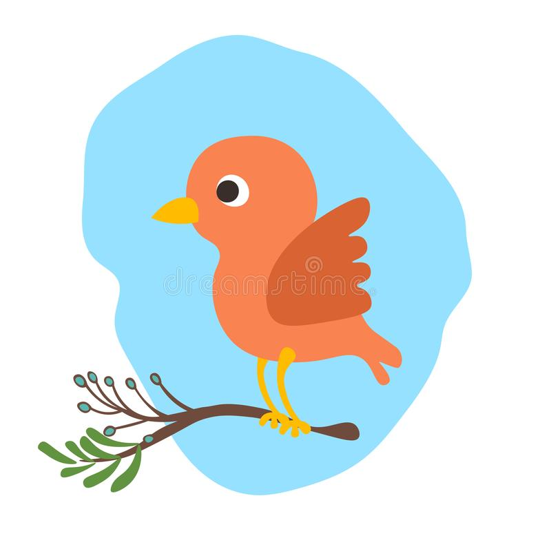 Vector cartoon cute bird illustration wit banch of tree. Baby bird, cartooning style. Red cute bird illustration. Isolated on white background royalty free illustration