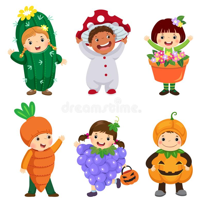 Vector cartoon of cute kids in plant costumes set. Carnival clot. Hes for children stock illustration