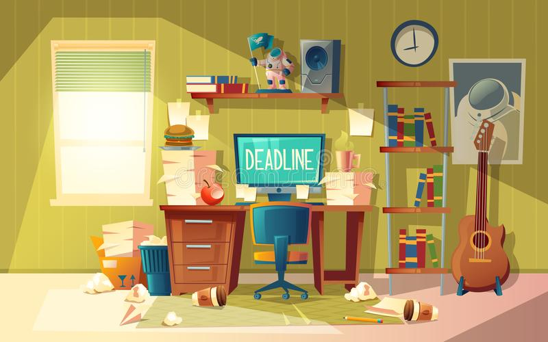 Vector cartoon deadline concept for freelance, job. Vector cartoon empty home office in chaos - deadline concept, approaching finishing time. Interior with stock illustration
