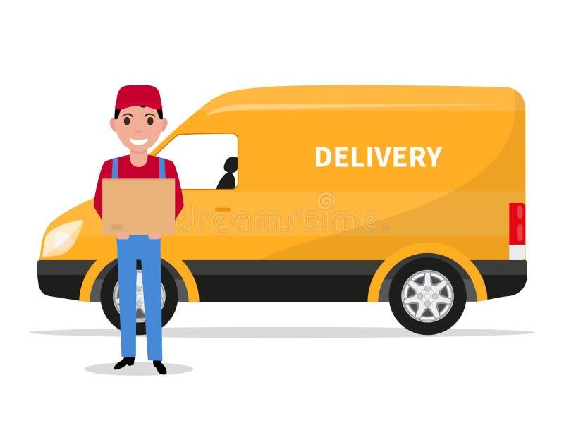 Vector cartoon delivery man with carton box a car vector illustration