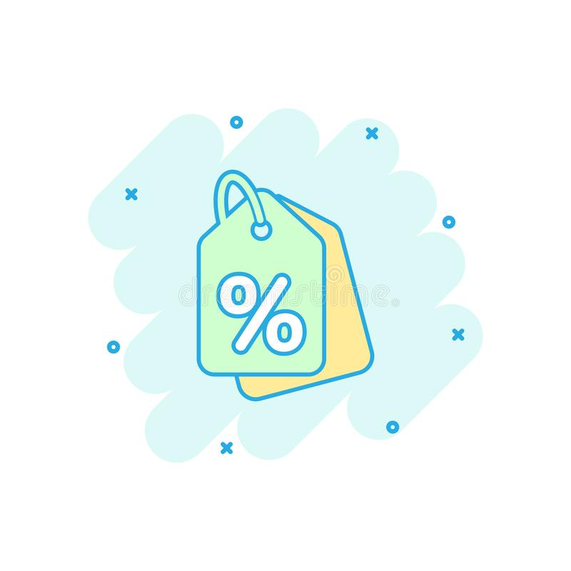 Vector cartoon discount shopping tag icon in comic style. Discount percent coupon concept illustration pictogram. Shop badge stock illustration