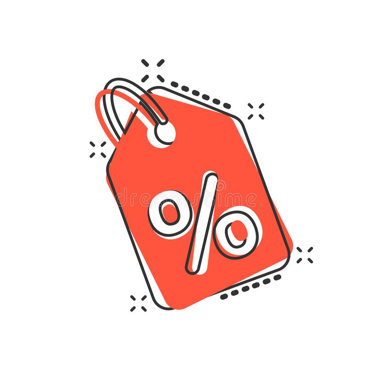 Vector cartoon discount shopping tag icon in comic style. Discount percent coupon concept illustration pictogram. Shop badge royalty free illustration