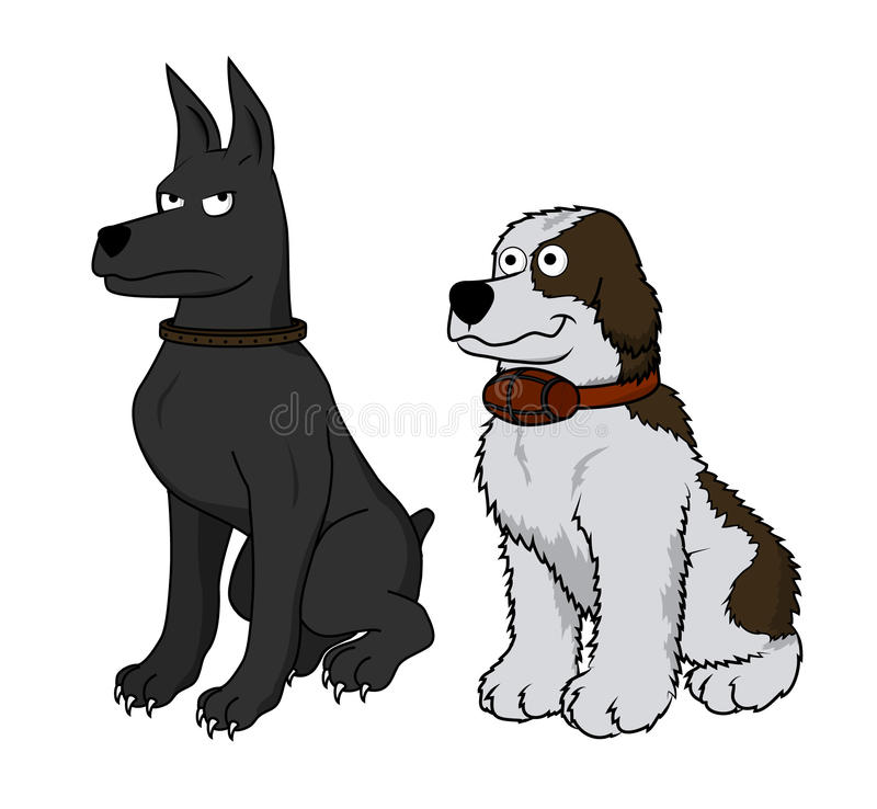 Vector cartoon - 2 dogs royalty free stock photo