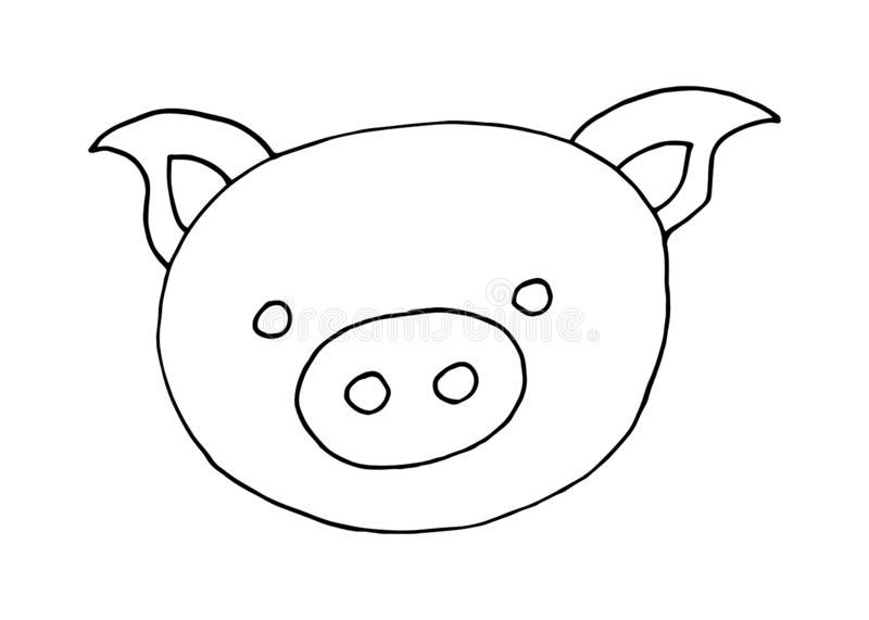 Vector cartoon doodle hand drawn image of pig head on a white background royalty free illustration