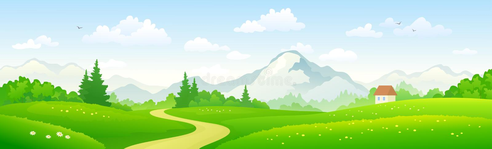 Mountain forest panoramic banner stock illustration