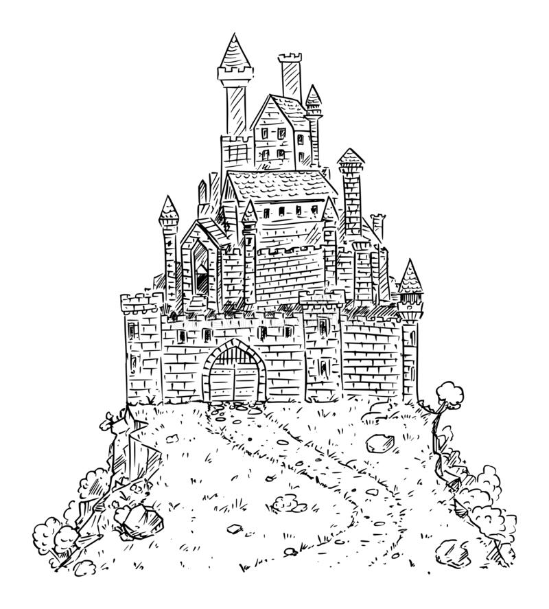 Free Vector Cartoon Drawing Or Illustration Of Fantasy Or Medieval Castle On Hill. Royalty Free Stock Photos - 170937068