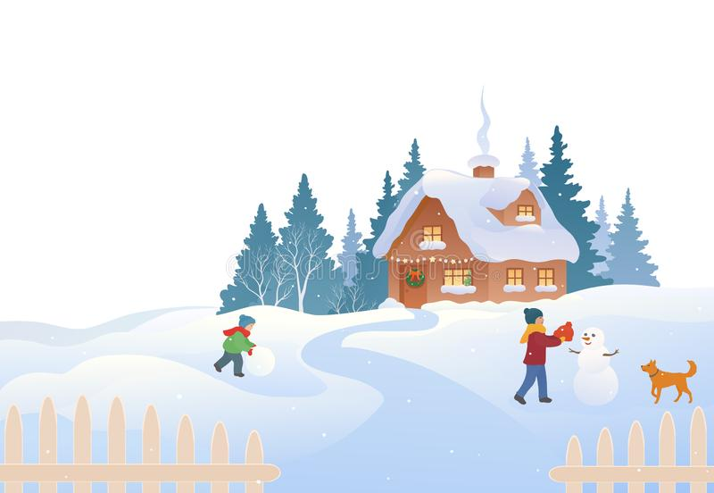 Country cottage winter scene royalty free illustration