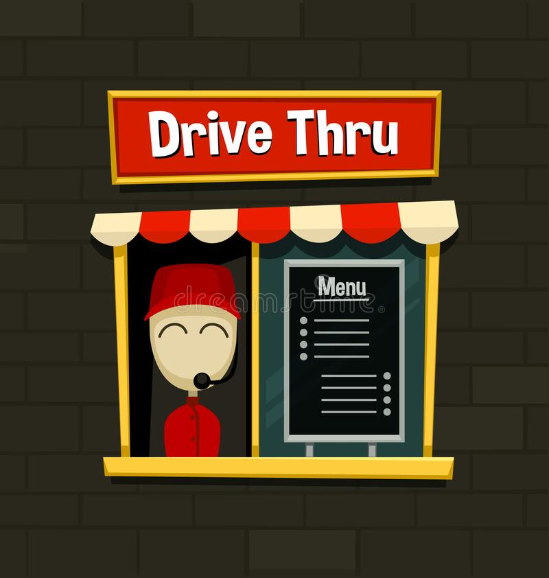 Vector cartoon drive thru menu board fast food business snack dish quick simple idea with brick wall background illustration stock illustration