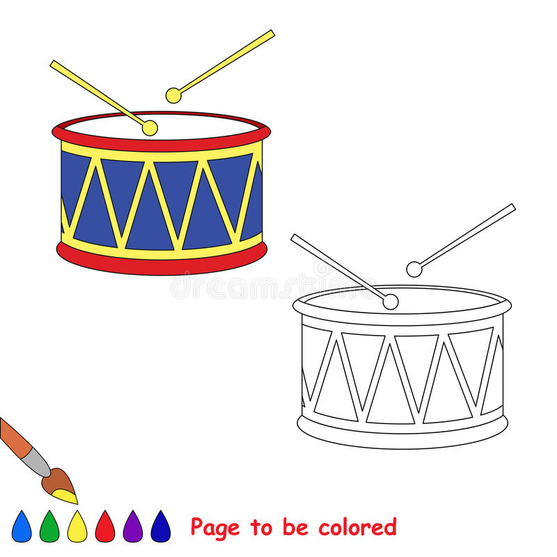 Vector cartoon drum to be colored. stock illustration