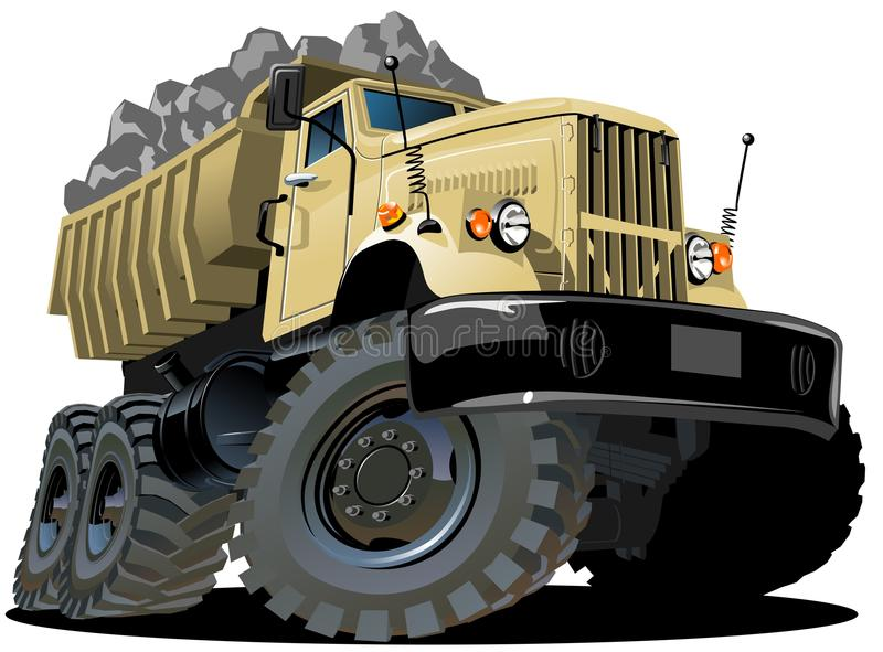 Vector cartoon dump truck stock illustration