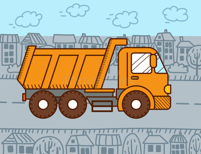 Vector Cartoon Dump Truck stock illustration