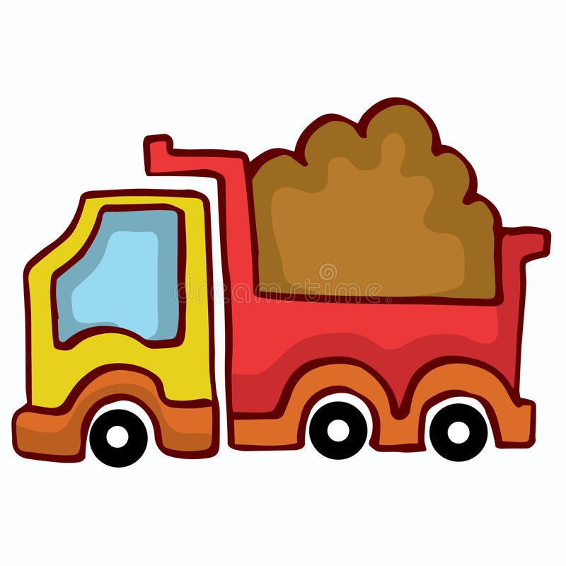 Vector Cartoon Dump Truck design for kids stock illustration