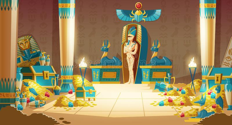 Vector cartoon Egyptian tomb - pharaoh sarcophagus, pyramid. Vector Egyptian tomb - pharaoh sarcophagus with mummy, treasure and other symbols of culture stock illustration