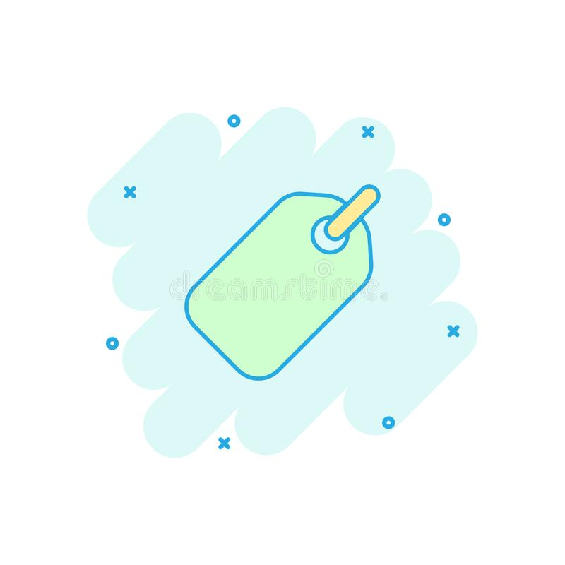 Vector cartoon empty tag icon in comic style. Price sale concept. Illustration pictogram. Promotion coupon business splash effect concept vector illustration