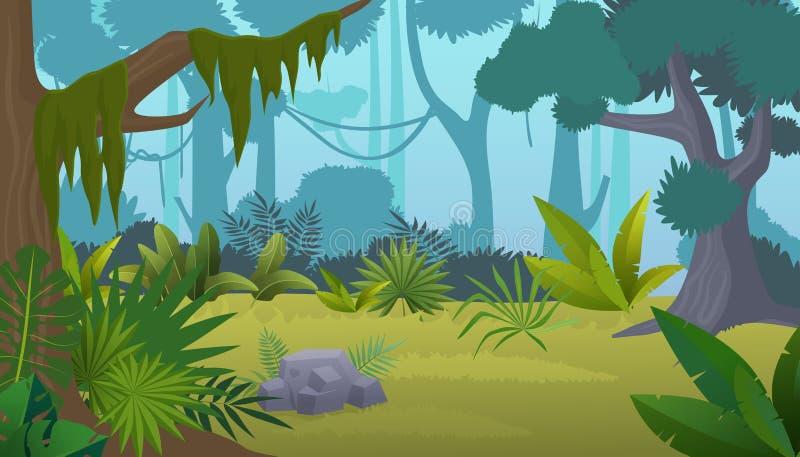 Vector cartoon empty tropical rainforest Jungle background. stock illustration