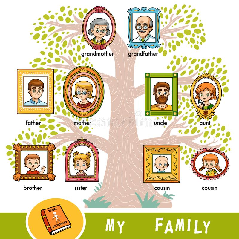 Vector cartoon family tree with images of people in frames. A visual dictionary of family members royalty free illustration