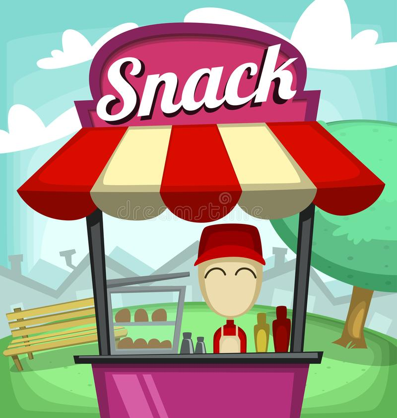 Vector cartoon fast food snack stand bar small culinary business illustration. With nice guy in red uniform and park tree bench neighborhood stock illustration