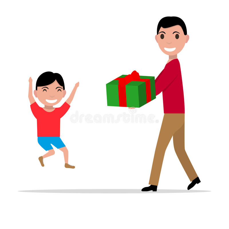 Vector cartoon father giving her son a present stock illustration