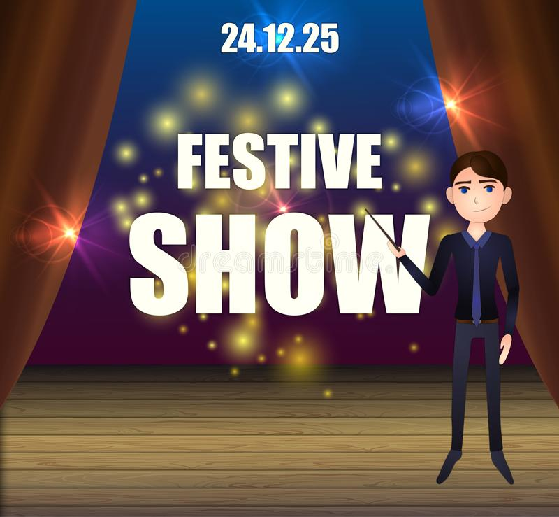 Vector Cartoon Festive Show Background, Man on the Stage. royalty free illustration