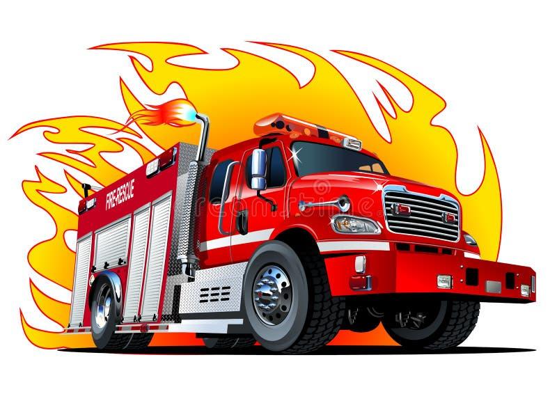 Vector Cartoon Fire Truck royalty free illustration