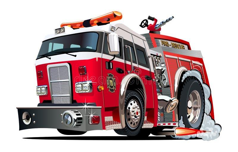Vector cartoon firetruck stock illustration
