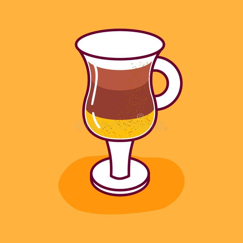 Vector cartoon flat coffee glass isolated icon stock illustration