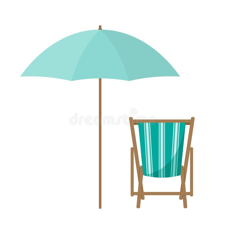 Free Vector Cartoon Flat Illustration Of Beach Chair, Umbrella Isolated On White Royalty Free Stock Image - 183174726
