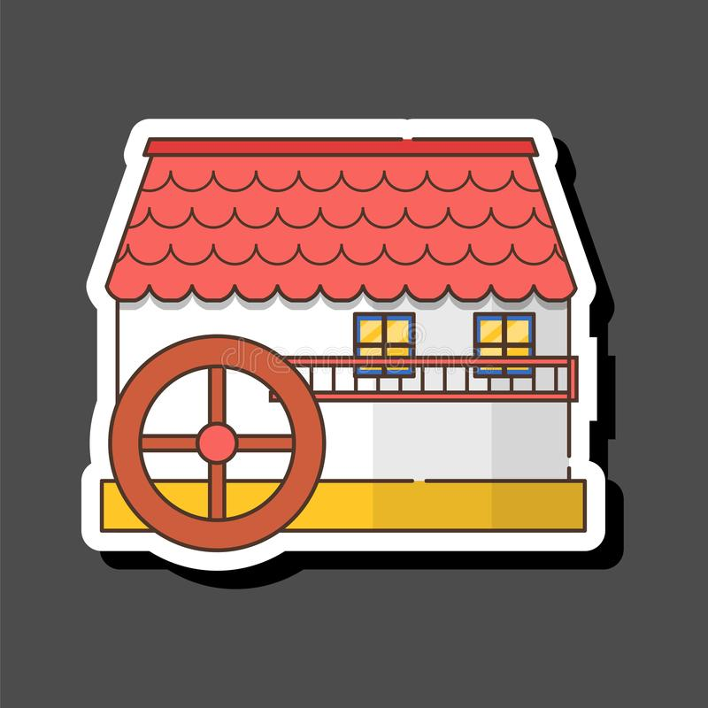 Vector cartoon flat watermill icon isolated on background royalty free stock photography