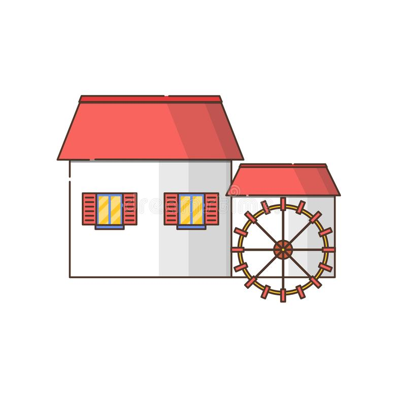 Vector cartoon flat watermill icon isolated on background stock image
