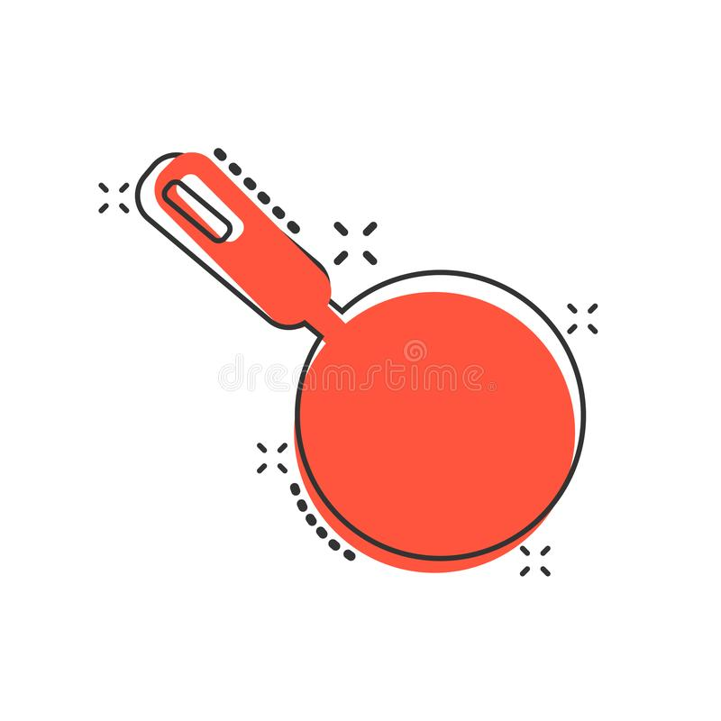 Vector cartoon frying pan icon in comic style. Cooking pan concept illustration pictogram. Skillet kitchen equipment business. Splash effect concept stock illustration